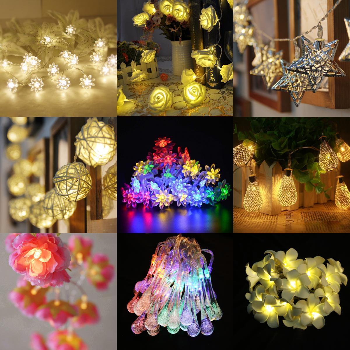 20 LED Battery Operated Flowers String Fairy Light Xmas Wedding Decor 2M
