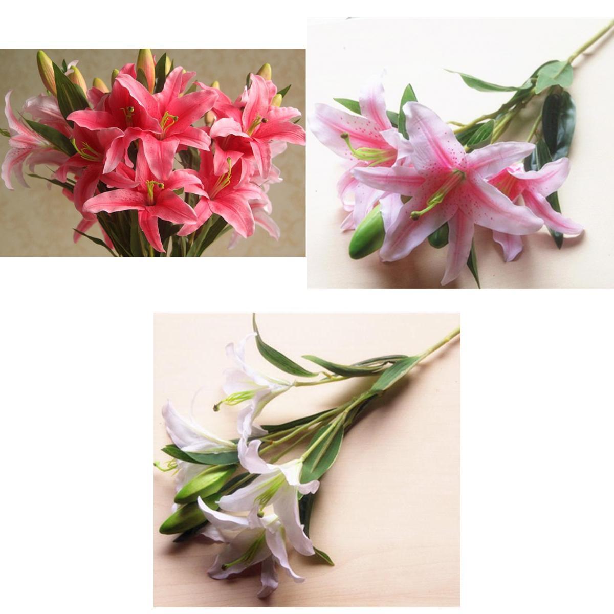 Wedding Bridal Bouquet Home Decor Diy Faux Flowers Arrangement White